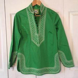 {ELIZABETH MCKAY} Green Embroidered Top 4